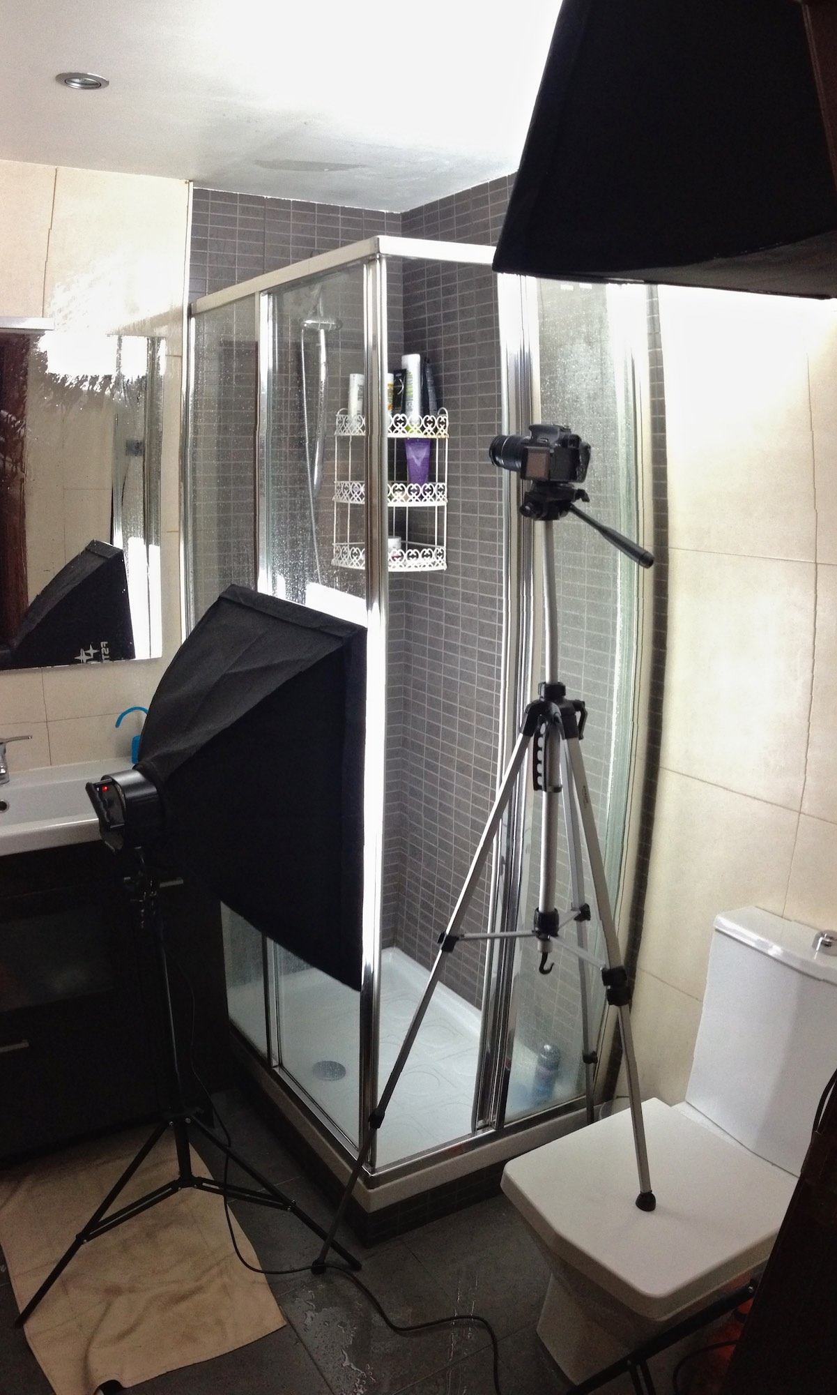 shower scene video recording in the bathroom