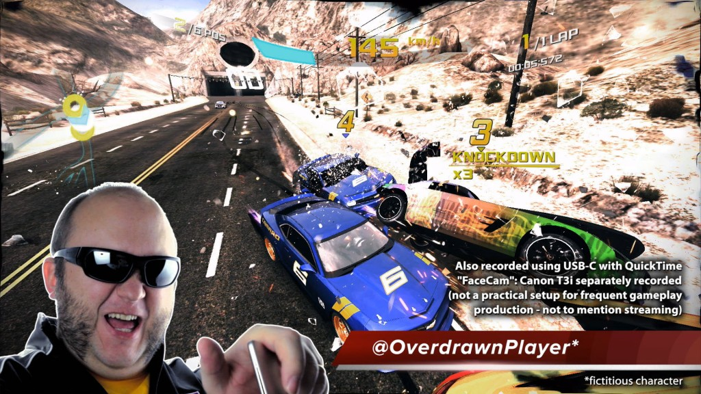 Asphalt 8 Airborne gameplay on Apple TV captured with USB-C cable